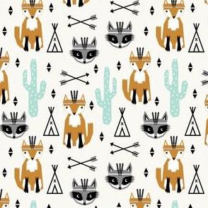 southwest animals nursery baby cactus triangle raccoon fox feathers arrows