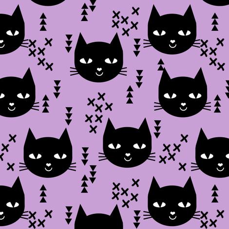 cat purple girls happy cat cute spring cat head fabric by charlottewinter on Spoonflower - custom fabric