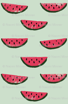 CUSTOM Watermelon Fabric GREEN 2inches_wide