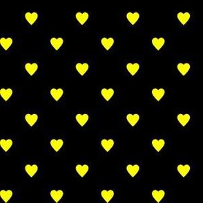 Yellow Hearts on Black