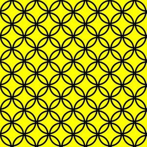 Black Overlapping Circles on Yellow