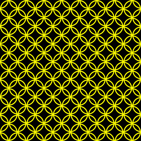 Yellow Overlapping Circles on Black fabric by mtothefifthpower on Spoonflower - custom fabric