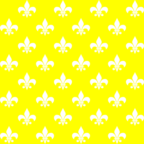 One Inch White Fleur-de-lis on Yellow fabric by mtothefifthpower on Spoonflower - custom fabric
