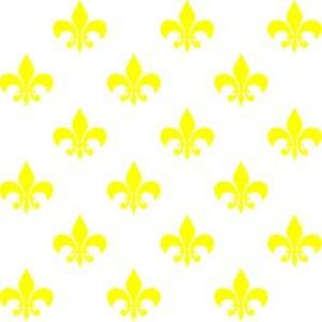 Yellow Fleur-de-lis on White