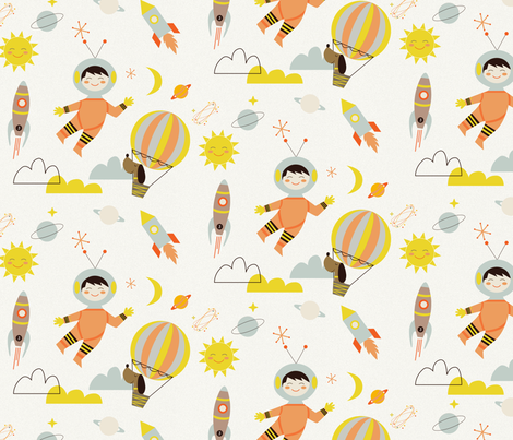 Rocket and space fabric szonjakiss spoonflower for Space minky fabric
