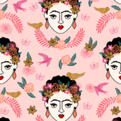 frida kahlo // mexico hand drawn print pastel pink