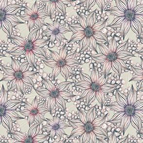 pastel pencil floral cream
