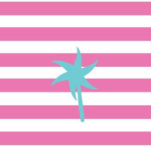 Preppy Palm Stripes XL -berry seafoam