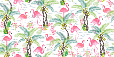 Watercolour Tropical Flamingoes