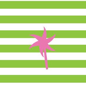 Preppy Palm Stripes XL -Kiwi Berry