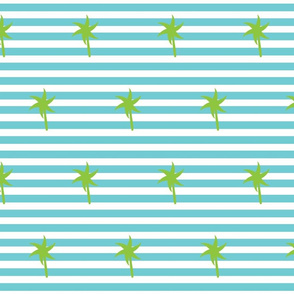 Preppy Palm Stripes MEDIUM -Seafoam Kiwi