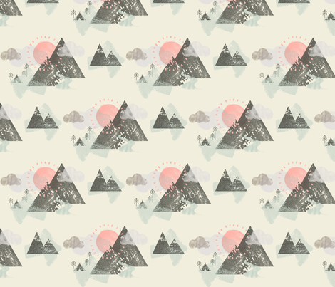 Watercolour Mountain Camp fabric by phirefly_print on Spoonflower - custom fabric
