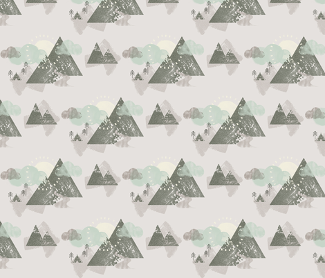 Watercolour Mountain Camp Cloud fabric by phirefly_print on Spoonflower - custom fabric