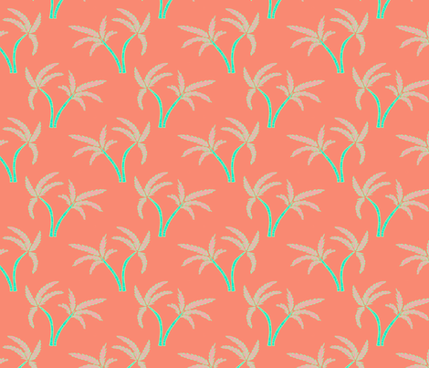 Twin Palms in Coral fabric by paper_and_frill on Spoonflower - custom fabric