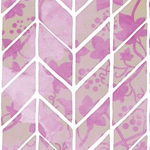 Pink Ivy Herringbone Watercolor Repeating