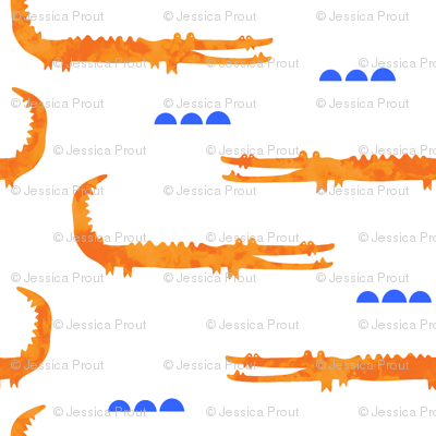 watercolor crocodile // orange with blue