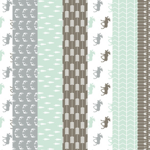 Moose Wholecloth Quilt top // grey/mint/brown