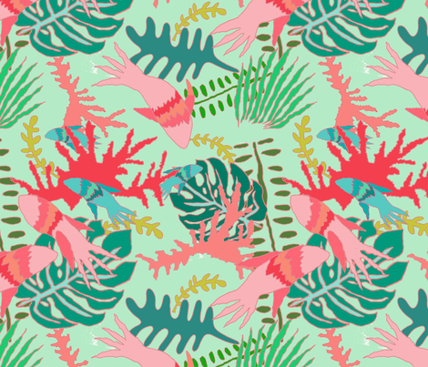 Sexy Fish in Seafoam with Pink fabric by paper_and_frill on Spoonflower - custom fabric