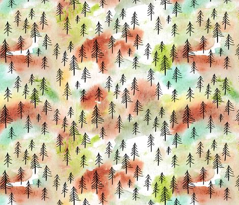 Watercolor Woods Summer fabric by evenspor on Spoonflower - custom fabric