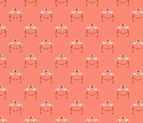 Pink Flamingoes on Coral fabric by paper_and_frill on Spoonflower - custom fabric