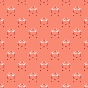 Pink Flamingoes on Coral