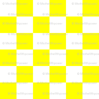 One Inch White and Yellow Checkerboard