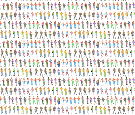 Little City People | Watercolor fabric by imaginaryanimal on Spoonflower - custom fabric