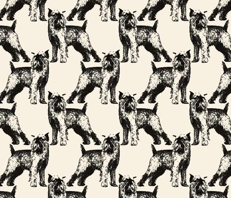 Posing Brussels Griffon - sepia fabric by rusticcorgi on Spoonflower - custom fabric