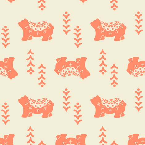 Bear Spirit - salmon fabric by rochelle_new on Spoonflower - custom fabric