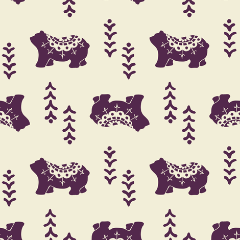 Bear Spirit - eggplant fabric by rochelle_new on Spoonflower - custom fabric