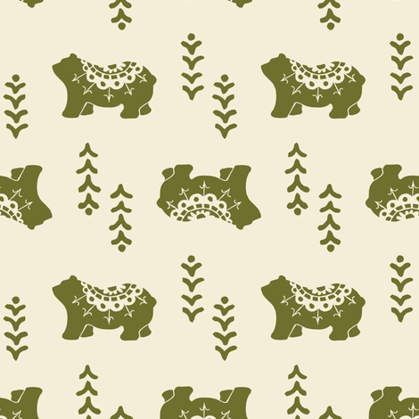 Bear Spirit - olive fabric by rochelle_new on Spoonflower - custom fabric