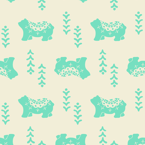 Bear Spirit - mint fabric by rochelle_new on Spoonflower - custom fabric