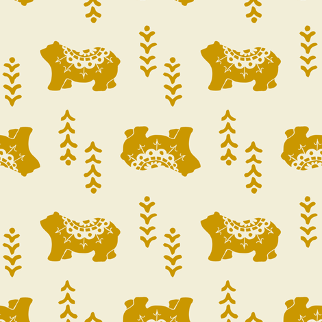 Bear Spirit - mustard fabric by rochelle_new on Spoonflower - custom fabric