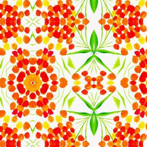 Nasturtium stripes geometric watercolor