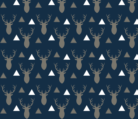 Navy_and_Gray_and_White_Deer_Heads_and_Triangles fabric by googoodoll on Spoonflower - custom fabric