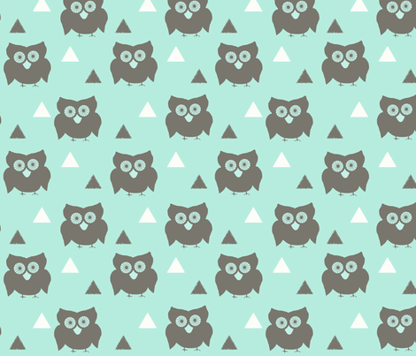 Owls_and_Triangles_Aqua fabric by googoodoll on Spoonflower - custom fabric