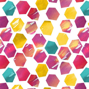 Watercolour Abstract Hexagons