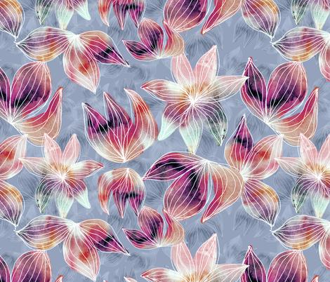 watercolour on faded blue fabric by kociara on Spoonflower - custom fabric