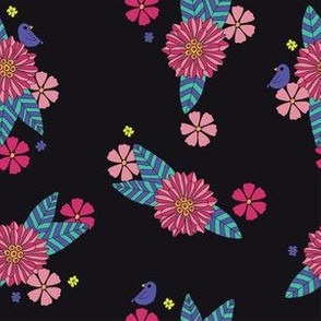 Black Floral with Little Bird - pinks