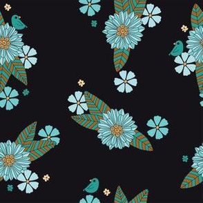 Black Floral with Little Bird - teal, aqua, brown