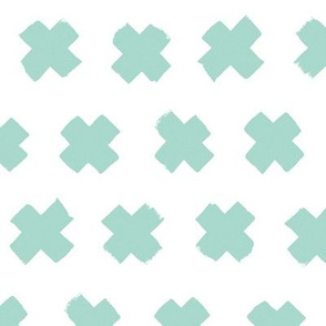 Gender neutral mint cross and abstract plus sign geometric grunge brush strokes scandinavian style print