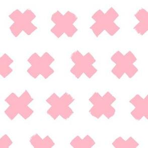 Soft blush pink girls cross and abstract plus sign geometric grunge brush strokes scandinavian style print