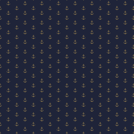 Anchor Navy Gold (small) fabric by kimsa on Spoonflower - custom fabric