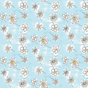 Daisy a Day on Ice Blue