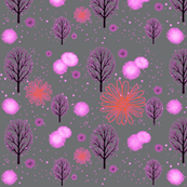 Winter Forests in Pink on grey