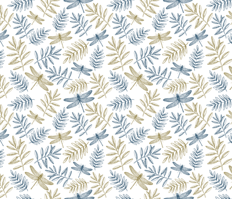 Summer dragonflies fabric by adehoidar on Spoonflower - custom fabric