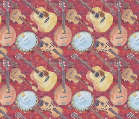 Acoustic Arangement Strings Red fabric by bloomingwyldeiris on Spoonflower - custom fabric