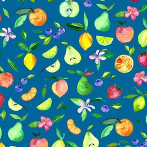 Fruit and Blossoms in Watercolor on Dark Teal
