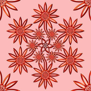 Red Flowers on Pink