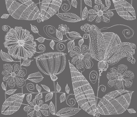 Floribunda in Taupe fabric by valerievalerie on Spoonflower - custom fabric